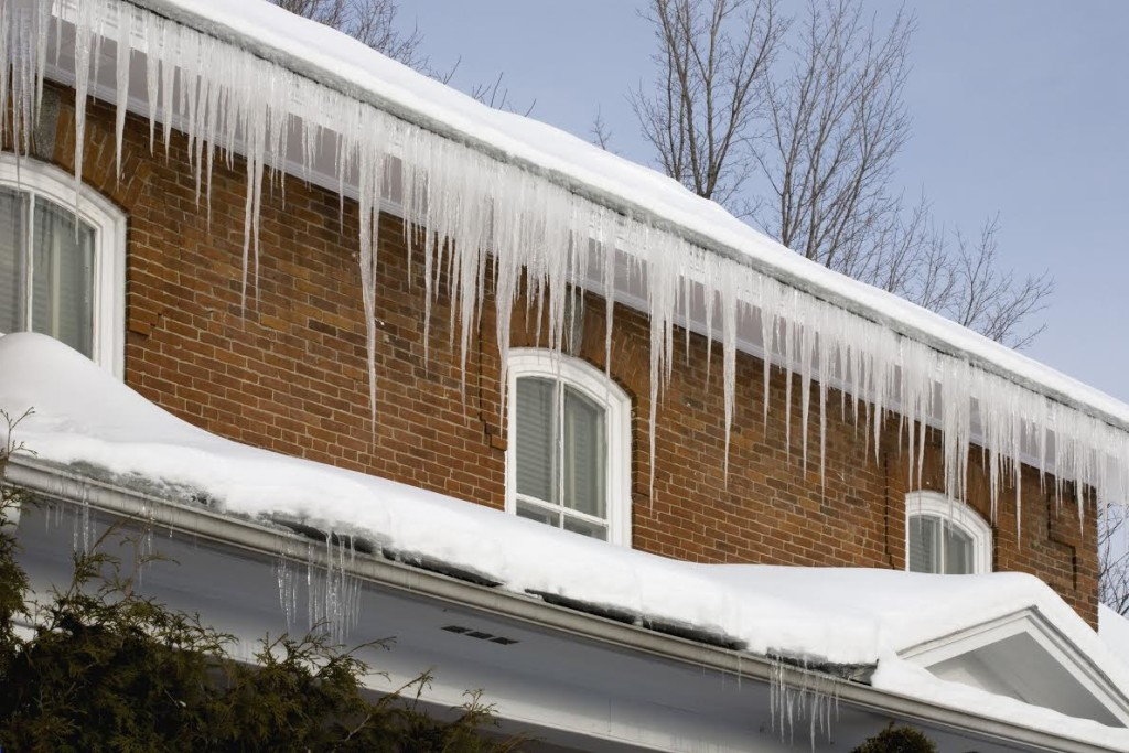 Icicles hanging off rain gutters